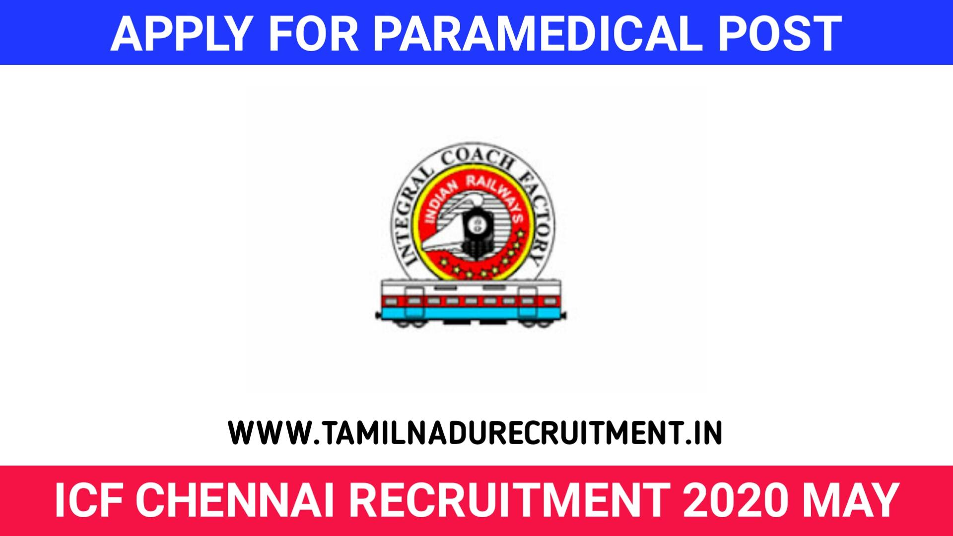 Photo of ICF Chennai Recruitment 2020 – 62 Paramedical Staff Posts @icroams.com